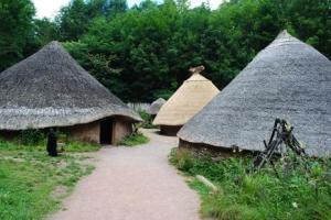 Reconstructions of roundhouses at St. Fagans National Museum Wales