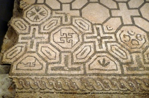(10)The swastika is an ancient symbol, thought by many to represent the sun. Is this design from a Roman mosaic at Barcino (or today, Barcelona) a swastika, or just one of a number of abstract geometrical designs?