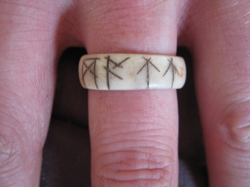 My ring -decorated with my name in  runes